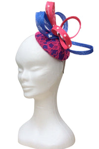 Royal blue and pink fascinator with diamanté detail - My Fascinators