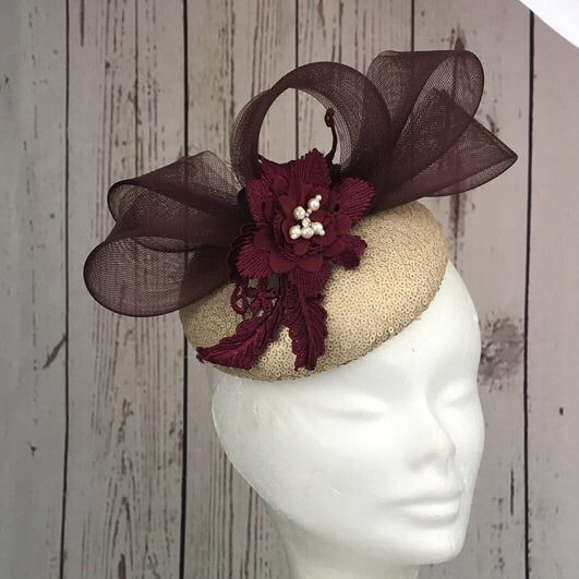 Plum and pale gold fascinator - My Fascinators