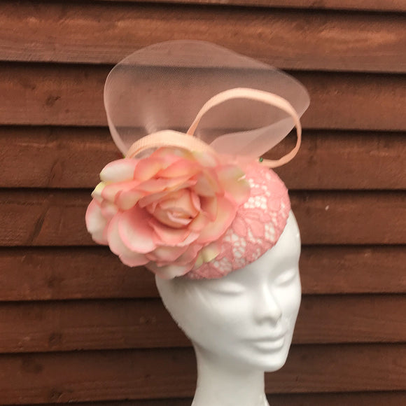 Pastel pink and vanilla fascinator - My Fascinators