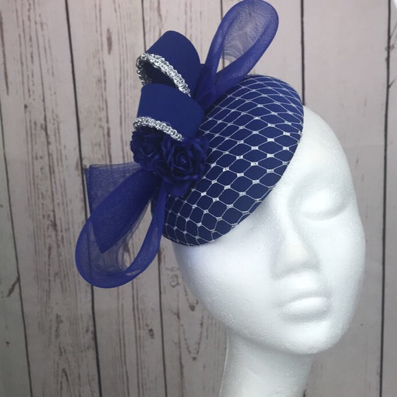 Royal blue and silver fascinator