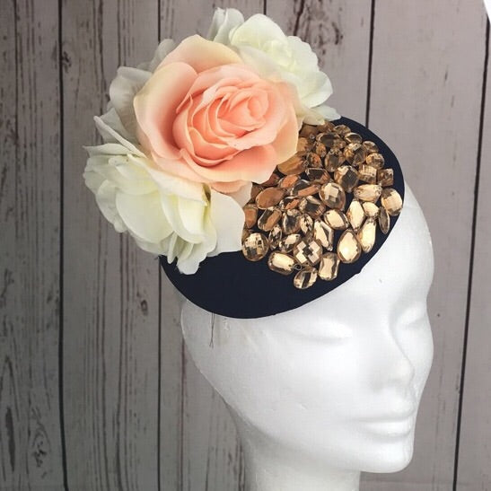 Navy and peach Fascinator
