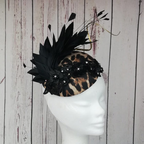 Leopard Print and black feather fascinator - My Fascinators