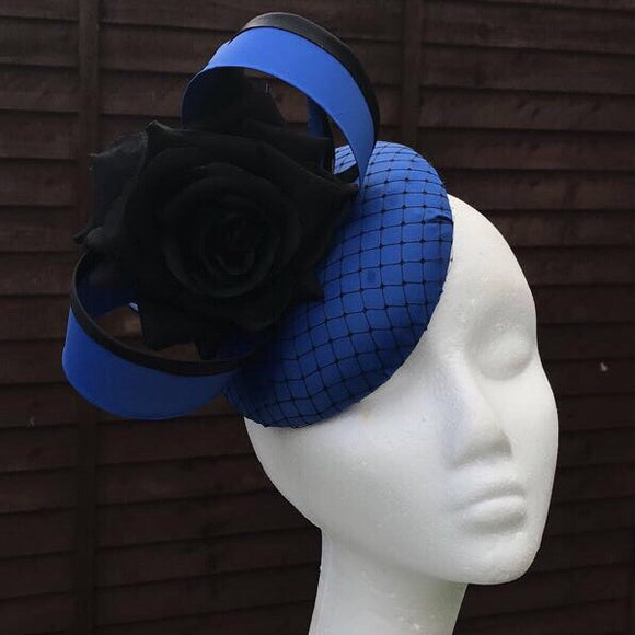 Sligo Blue and Black rose fascinator