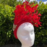 Red feather fascinator hairband