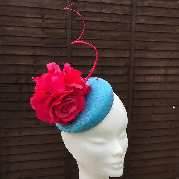 Pink and turquoise fascinator - My Fascinators