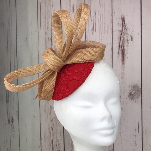 Red and gold fascinator