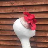 Red and rose gold fascinator