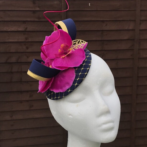Navy and magenta pink fascinator