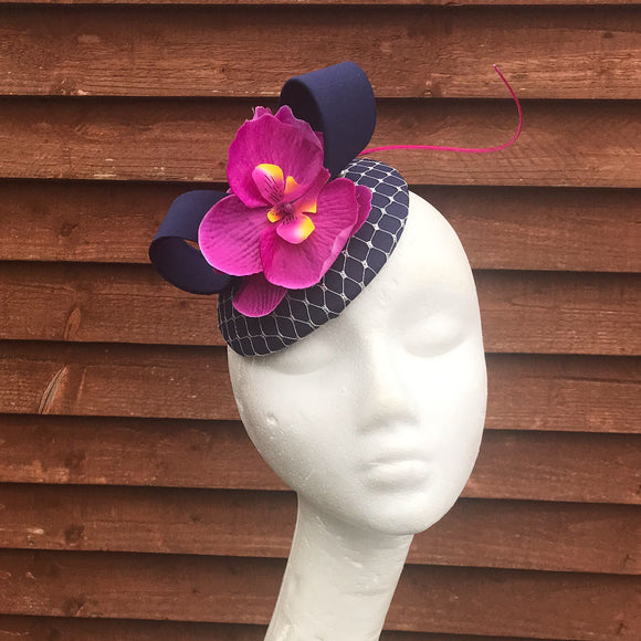 Navy and Magenta with silver fascinator
