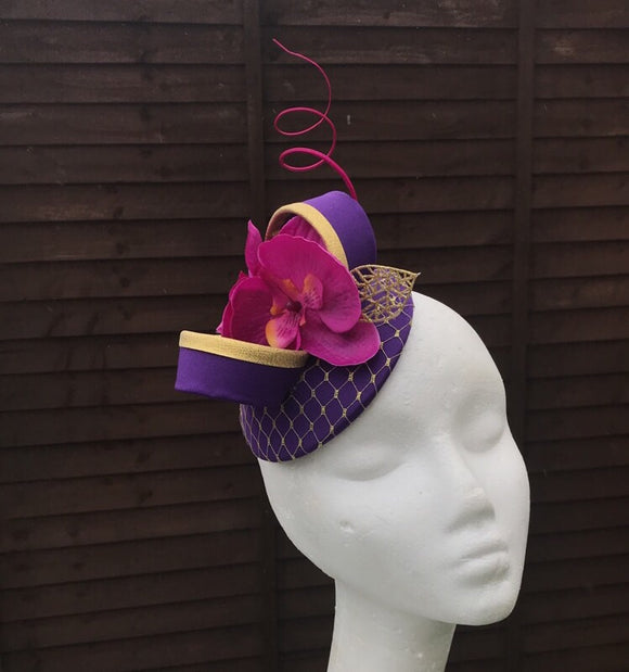 Cadbury purple and magenta fascinator