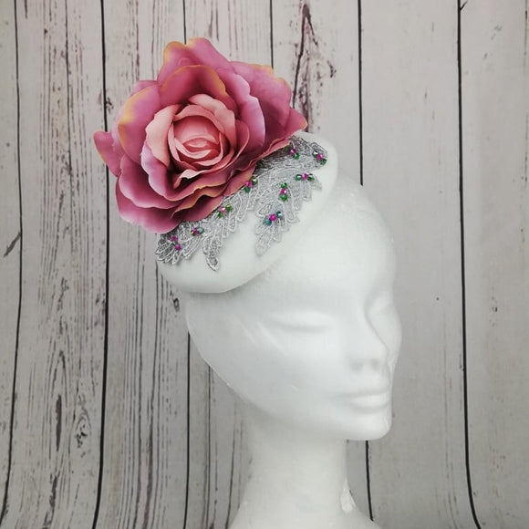 Vanilla and pink floral fascinator - My Fascinators