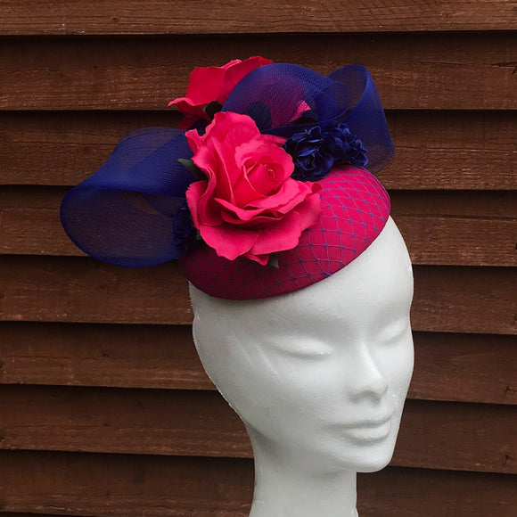 Blue and pink fascinator - My Fascinators