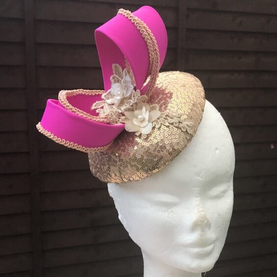 Magenta pink and Gold fascinator - My Fascinators