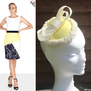 Lemon and pearl fascinator - My Fascinators