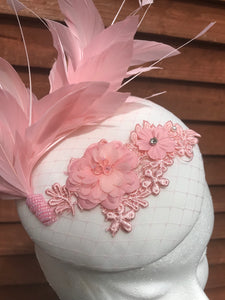 Pink lace and feather fascinator - My Fascinators