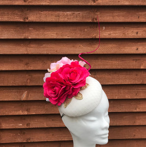 Pink and gold fascinator