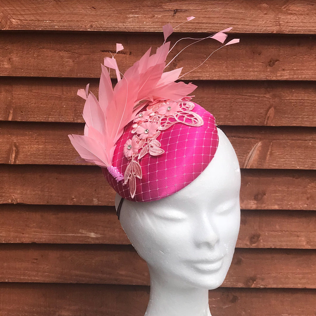 Galway cerise pink and pale pink fascinator - My Fascinators