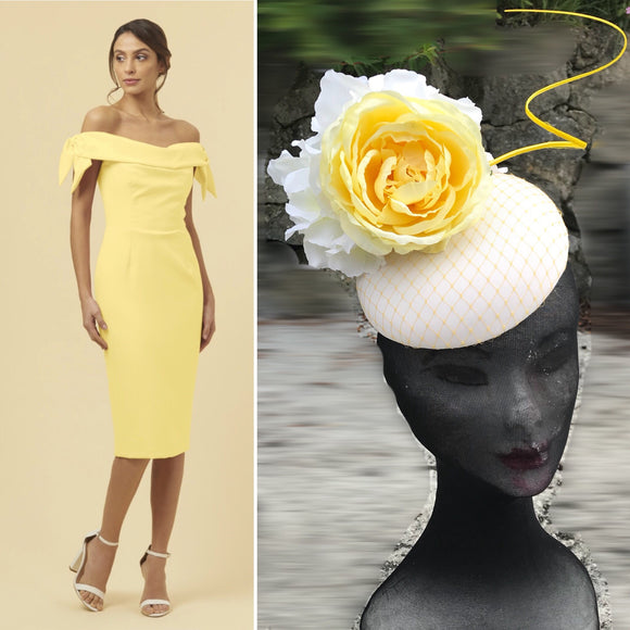 Yellow and cream fascinator - My Fascinators