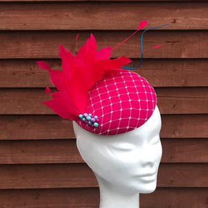 Pink and turquoise bead fascinator - My Fascinators