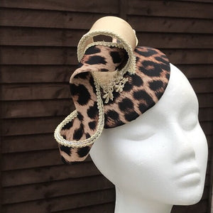 Gold and leopard print fascinator - My Fascinators