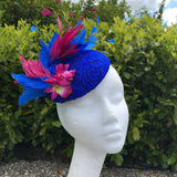Blue and Magenta pink fascinator
