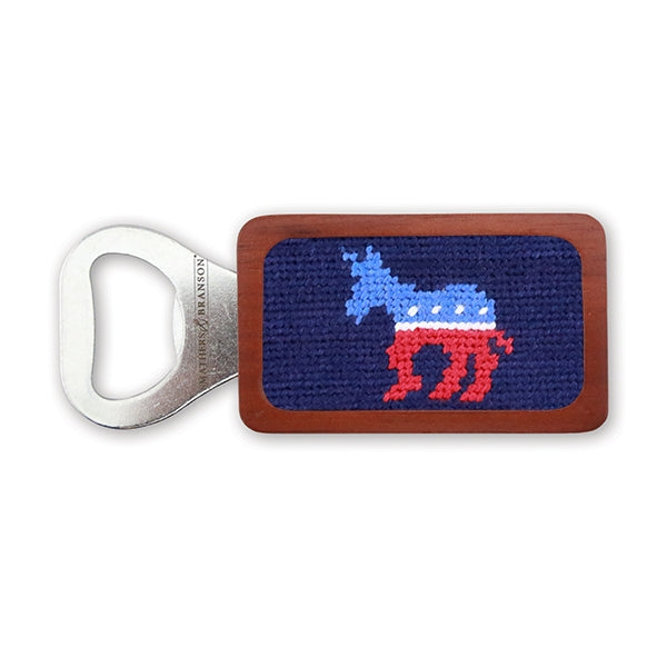 Democrat Needlepoint Bottle Opener by Smathers & Branson