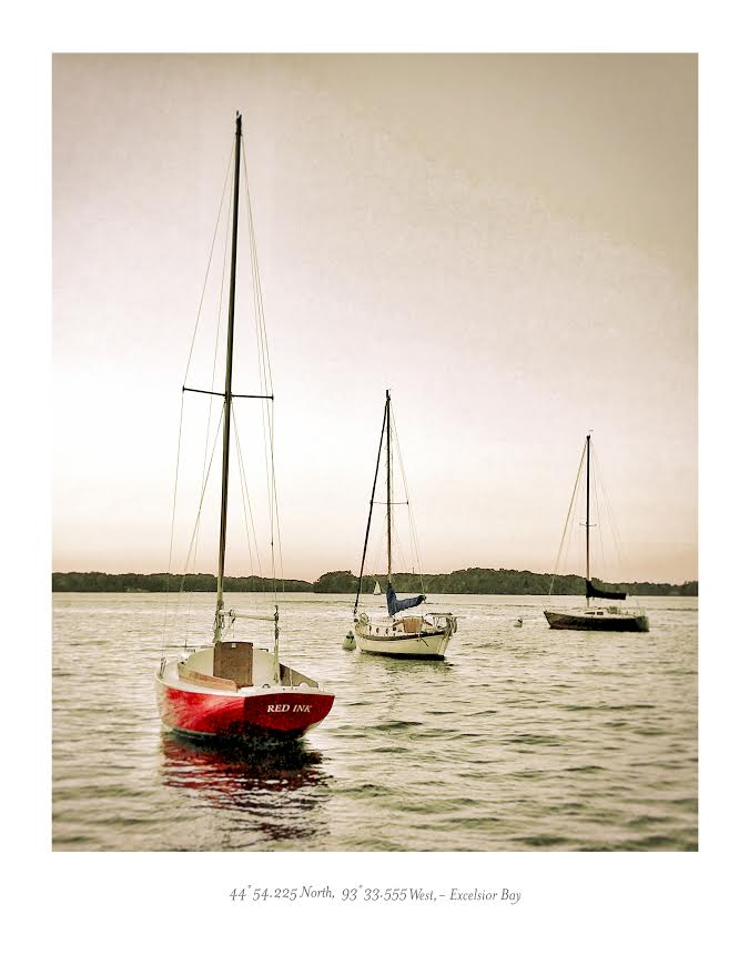 Water Series Print- Three Sailboats- Excelsior Bay