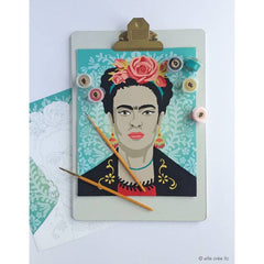 Paint by Numbers Kit- Turquoise Frida With Flowers