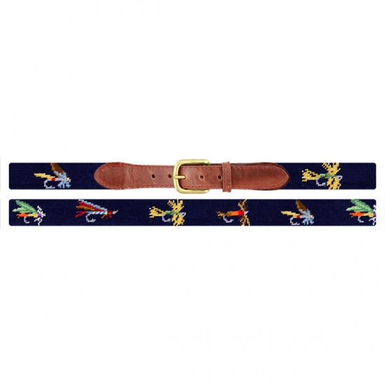 Fishing Flies Needlepoint Belt by Smathers and Branson