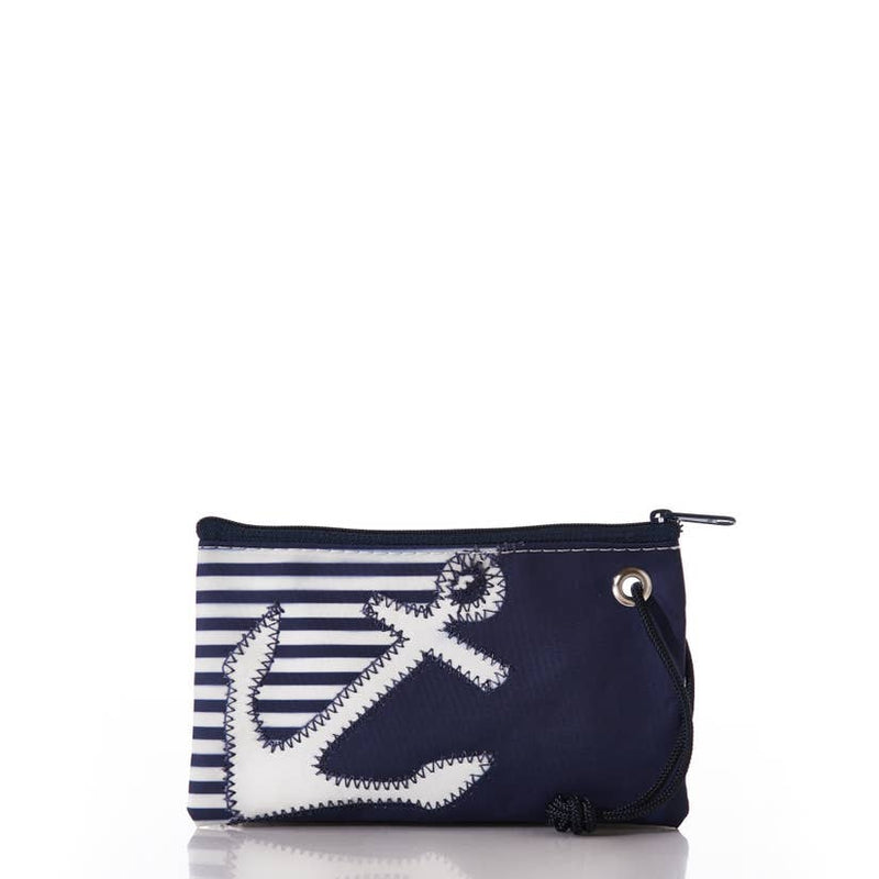 Breton Stripe White Anchor Wristlet by Sea Bags