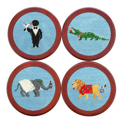 Party Animals Needlepoint Coaster Set by Smathers & Branson