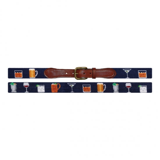 Gentlemen's Drinks Needlepoint Belt by Smathers & Branson