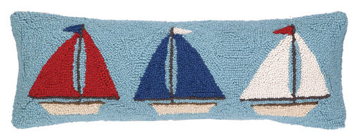 Mini Sailboat Trio Hooked Pillow