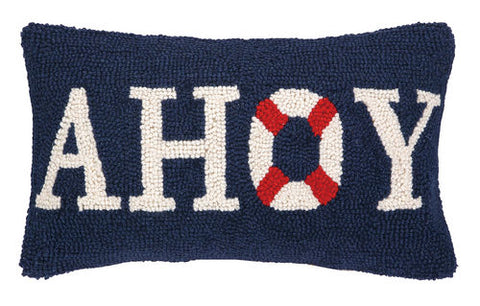 Ahoy Buoy Hooked Pillow