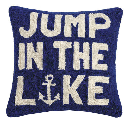 Jump in the Lake Hooked Pillow