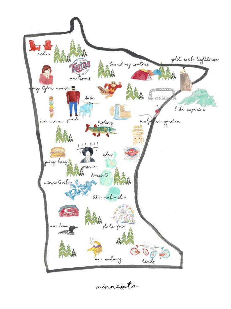 Minnesota Illustrated Print