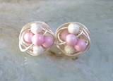 Mix It Up Series- Pastel Pink Swarovski Glass Pearl and Stardust bead Wire Wrapped Stud Earrings