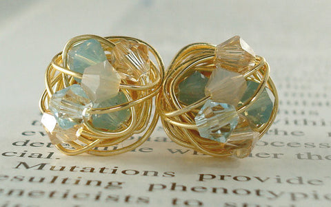 V*Dazzled Pacific Sand Series- Signature Wire Wrapped Stud Earrings with tan and light blue swarovski crystal beads