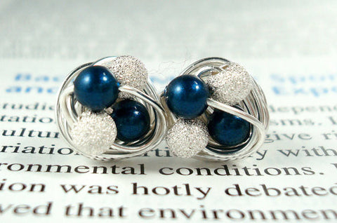 V*Dazzled Petite Petrol/Star Dust - Swarovski Pearl and Stardust bead Wire Wrapped Stud Earrings