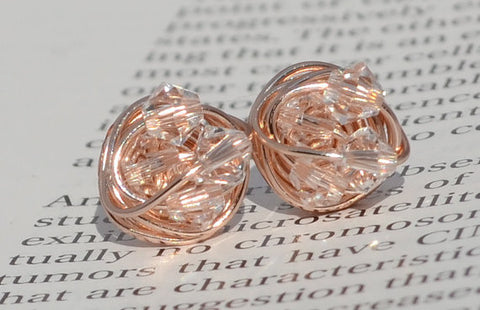 V*Dazzled Petite Clear crystal - Rose Gold Series- Clear Swarovski crystal beads and Rose gold Wire Wrapped Stud Earrings