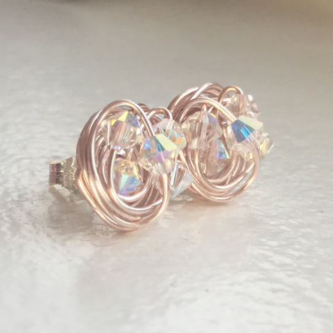 Alabaster Rose Gold Sparkle Series- Crystal AB Swarovski crystal beads and Rose Gold Wire Wrapped VDazzled Stud Earrings