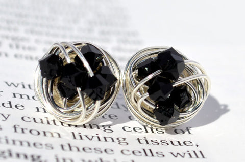 V*Dazzled Jet Black and Silver - The Classic Series- Swarovski crystal bead Wire Wrapped Stud Earrings