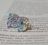 V*Dazzled Blue and Purple - Pin It Series- Light Azore, Violet, and Montana Swarovski crystal bead Wire Wrapped Stud Earrings