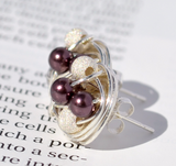 Burgundy / Stardust - Swarovski Pearl and Stardust bead Wire Wrapped Stud Earrings - VDazzled