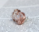 V*Dazzled Clear crystal - Rose Gold Series- Clear Swarovski crystal beads and Rose gold Wire Wrapped Stud Earrings