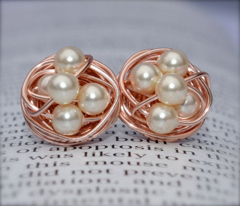 V*Dazzled Cream pearl - Rose Gold Series- Cream Swarovski glass pearl beads and Rose gold Wire Wrapped Stud Earrings studs