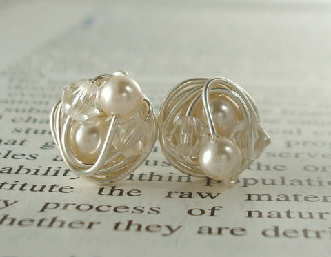 VDazzled Petite cream / clear Stud Earrings- Mix It Up Series- Swarovski Glass Pearl and Crystal Bead Wire Wrapped Stud Earrings