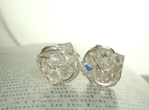 VDazzled Diamond in the Wire - Clear Swarovski Crystal and Silver wire wrapped Stud Earrings