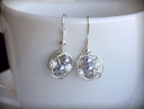 Dangle Series - Dangling Wire Wrapped Earrings with Lavender Glass Pearls and Stardust Beads