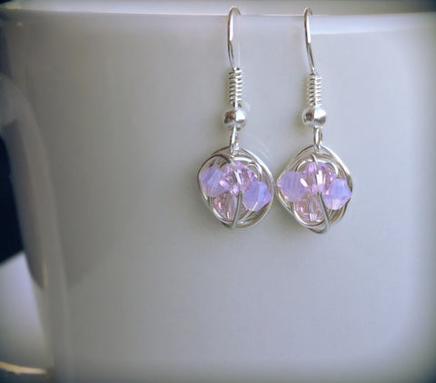 Petite Dangle Series - Dangling Wire Wrapped Earrings with Rose Swarovski Crystal Beads